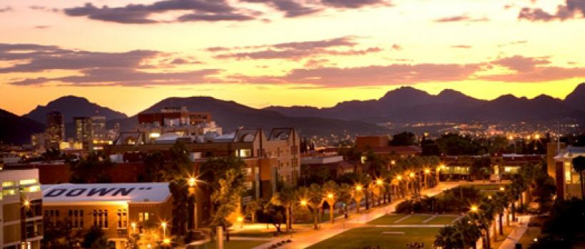 The University of Arizona Mall -- view to the West at sunset.